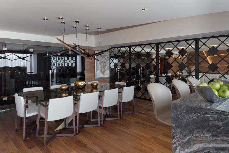 Remodelación Departamento Frondoso, CDMX.: Comedor de estilo  por Art.chitecture, Taller de Arquitectura e Interiorismo 📍 Cancún, México.