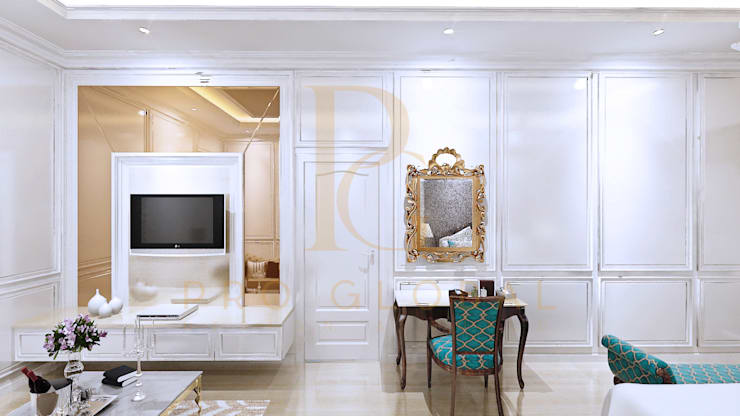 Detail Meja Riang dan Backdrop TV:  Bedroom by Pro Global Interior
