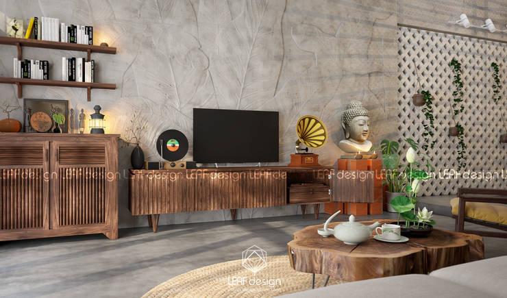 Cảm xúc Á Đông – Nhà phố Sài Gòn:  Phòng khách by LEAF Design