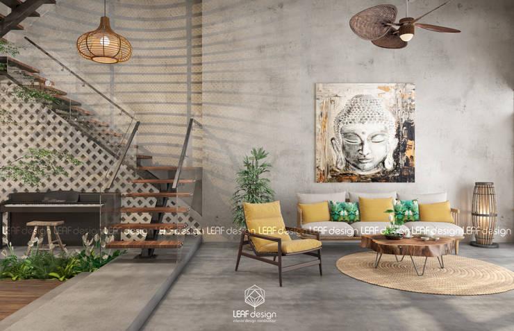 Cảm xúc Á Đông - Nhà phố Sài Gòn:  Phòng khách by LEAF Design