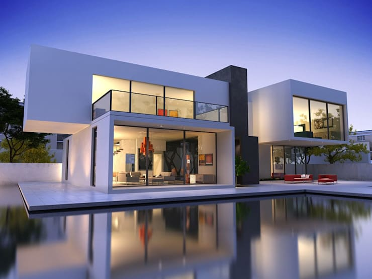 Moderne villa:   door Bureau AAP