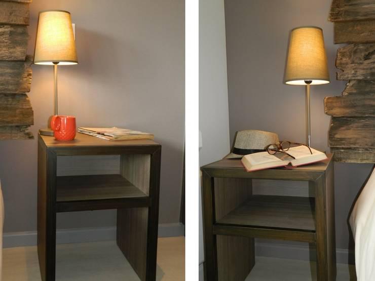 Veladores diseñados y ejecutados por DDO: Dormitorios de estilo rústico por DDO Diseño