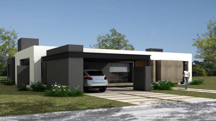 FACHADA PRINCIPAL: Casas unifamiliares de estilo  por JAMStudio,