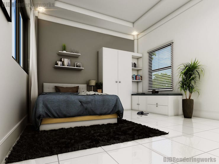 Modern Bedroom with window seater:  Bedroom by DJD Visualization and Rendering Services