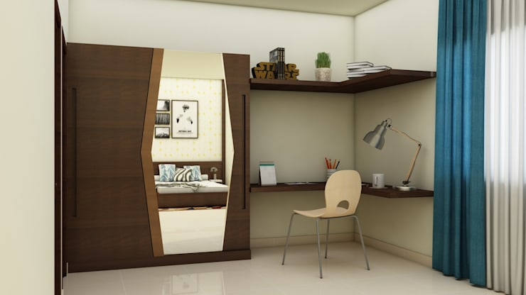 Guest Bedroom Wardrobe and study :  Bedroom by NVT Quality Build solution