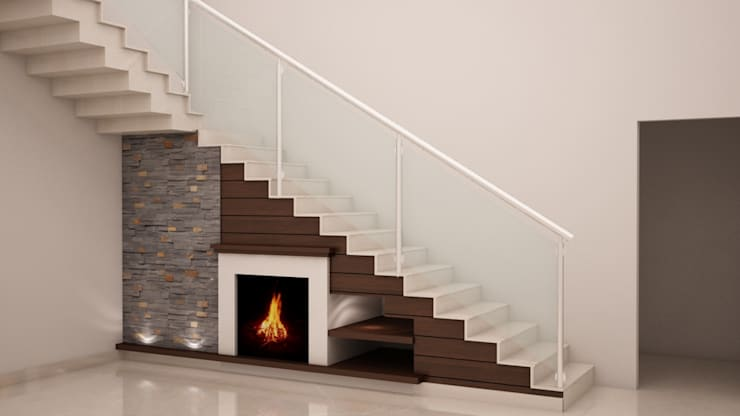 Under stairs - Fire place with display shelves:  Corridor & hallway by NVT Quality Build solution