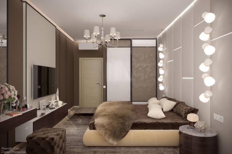 غرفة نوم تنفيذ Студия интерьерного дизайна happy.design