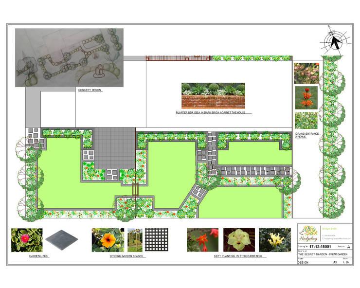 "The Secret Garden - Front Garden Design: {:asian=>""asian"", :classic=>""classic"", :colonial=>""colonial"", :country=>""country"", :eclectic=>""eclectic"", :industrial=>""industrial"", :mediterranean=>""mediterranean"", :minimalist=>""minimalist"", :modern=>""modern"", :rustic=>""rustic"", :scandinavian=>""scandinavian"", :tropical=>""tropical""}  by Hedgehog Landscapes,"