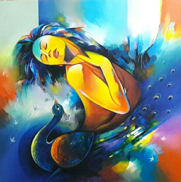 """Purchase """"Love Conquers All 1"""" Modern Painting at Indian Art Ideas: modern  by Indian Art Ideas,Modern"""