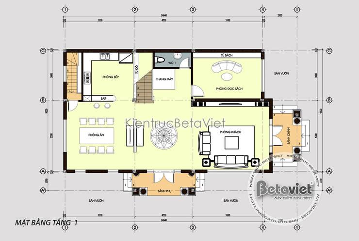 Mặt bằng mẫu biệt thự đẹp 4 tầng Tân cổ điển KT17057.:   by Công Ty CP Kiến Trúc và Xây Dựng Betaviet