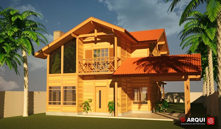 Projeto de Casa de Praia - Sobrado em Madeira: Chalés e casas de madeira  por G . Arqui - Arquitetura e Interiores