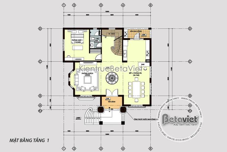 Mặt bằng tầng 1 biệt thự kiến trúc châu Âu tân cổ điển KT16105:   by Công Ty CP Kiến Trúc và Xây Dựng Betaviet