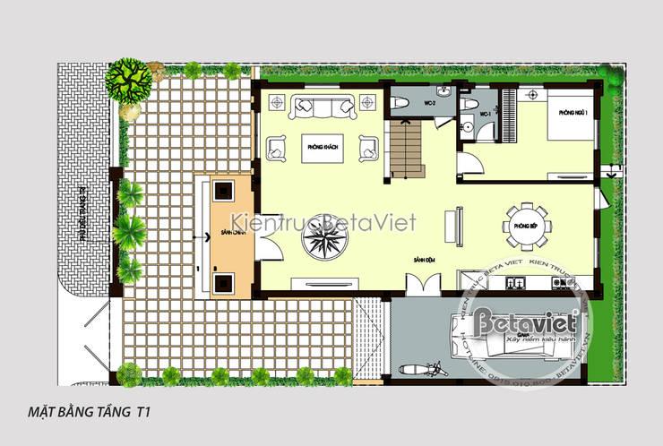 Mặt bằng tầng 1 biệt thự đẹp 3 tầng Tân cổ điển Pháp KT17047:   by Công Ty CP Kiến Trúc và Xây Dựng Betaviet