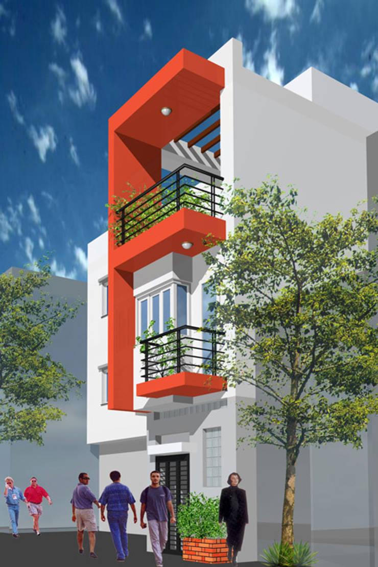 Phối cảnh mặt tiền nhà ống 3 tầng hiện đại:  Nhà gia đình by Công ty TNHH Xây Dựng TM – DV Song Phát