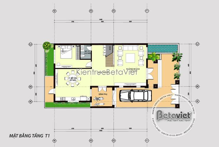 Mặt bằng tầng 1 biệt thự đẹp 3 tầng cổ điển KT17026:   by Công Ty CP Kiến Trúc và Xây Dựng Betaviet