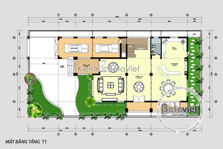 Mặt bằng tầng 1 biệt thự phong cách Pháp 3 tầng Tân cổ điển KT16138:   by Công Ty CP Kiến Trúc và Xây Dựng Betaviet