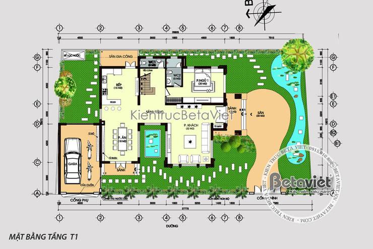 Mặt bằng tầng 1 Mẫu biệt thự hiện đại 2 tầng KT16140.:   by Công Ty CP Kiến Trúc và Xây Dựng Betaviet