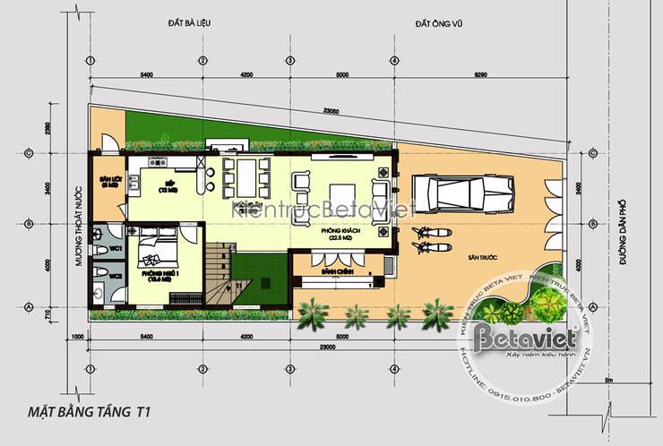 Mặt bằng tầng 1 mẫu biệt thự đẹp 3 tầng cổ điển KT17161:   by Công Ty CP Kiến Trúc và Xây Dựng Betaviet