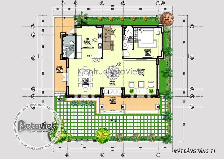 Mặt bằng tầng 1 mẫu biệt thự đẹp 3 tầng Hiện đại KT16102:   by Công Ty CP Kiến Trúc và Xây Dựng Betaviet