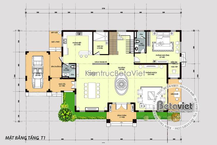 Mặt bằng tầng 1 mẫu biệt thự vườn 2 tầng hiện đại KT17032:   by Công Ty CP Kiến Trúc và Xây Dựng Betaviet