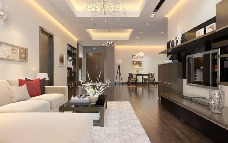 Những món đồ nội thất đơn giản hoặc đồ nội thất thông minh là giải pháp tối ưu.:  Phòng khách by Công ty TNHH Thiết Kế Xây Dựng Song Phát