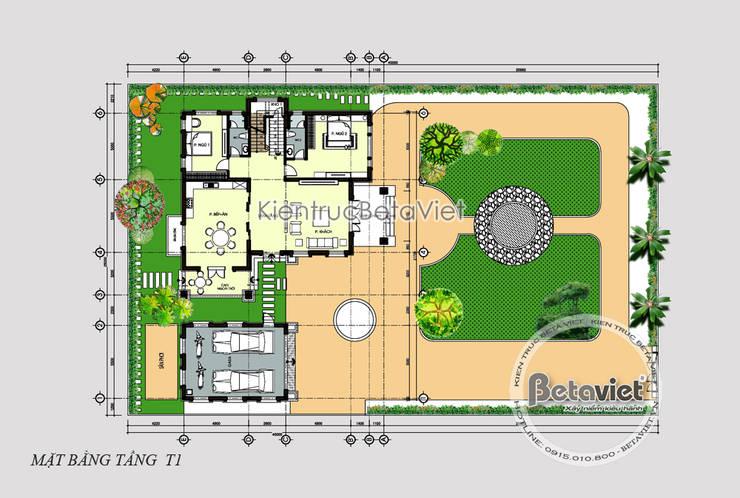 Mặt bằng tầng 1 mẫu biệt thự đẹp 2 tầng hiện đại KT17032:   by Công Ty CP Kiến Trúc và Xây Dựng Betaviet