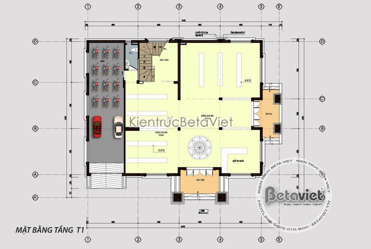 Mặt bằng tầng 1 mẫu biệt thự kiểu Pháp tân cổ điển 3 tầng KT16061:   by Công Ty CP Kiến Trúc và Xây Dựng Betaviet