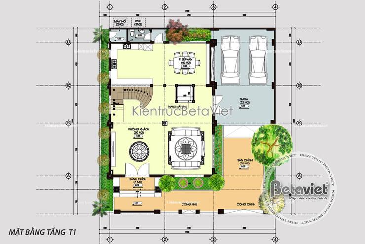 Mặt bằng tầng 1 mẫu biệt thự đẹp 3 tầng châu Âu KT16124:   by Công Ty CP Kiến Trúc và Xây Dựng Betaviet