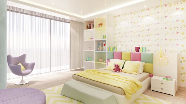 Girls Bedroom 5 Years:  Bedroom by Dessiner Interior Architectural