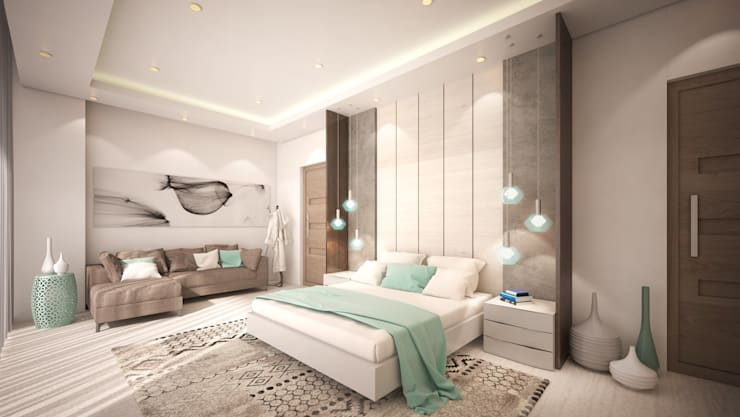 Guest Bedroom:  Bedroom by Dessiner Interior Architectural
