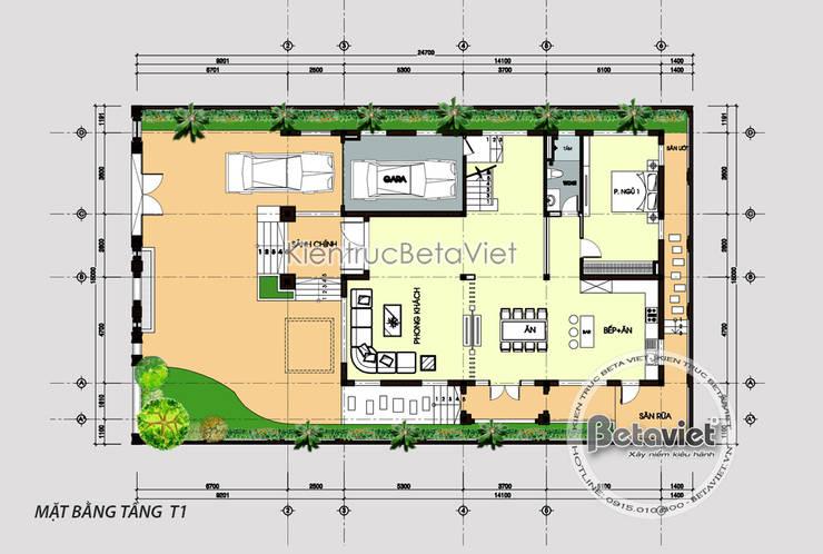 Mặt bằng tầng 1 mẫu thiết kế biệt thự châu Âu KT17069:   by Công Ty CP Kiến Trúc và Xây Dựng Betaviet