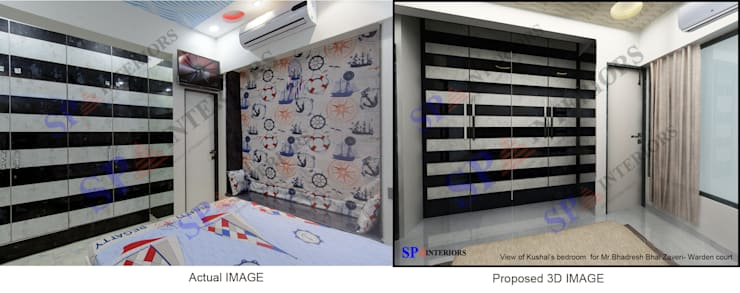 Actual image and Proposed 3d views:  Bedroom by SP INTERIORS