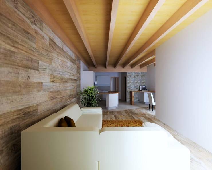 Rustico moderno una casa con un mobile che divide cucina e