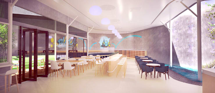 Dining Area // Bleu Resto:  Restoran by Lukemala Creative Studio