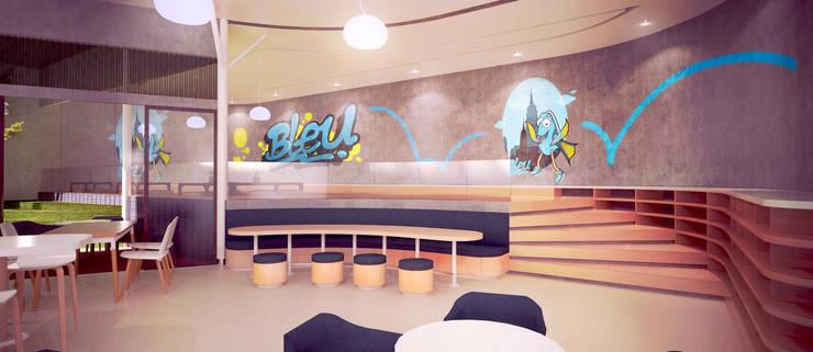 Interiors and Mural Artwork // Bleu Resto:  Artwork by Lukemala Creative Studio