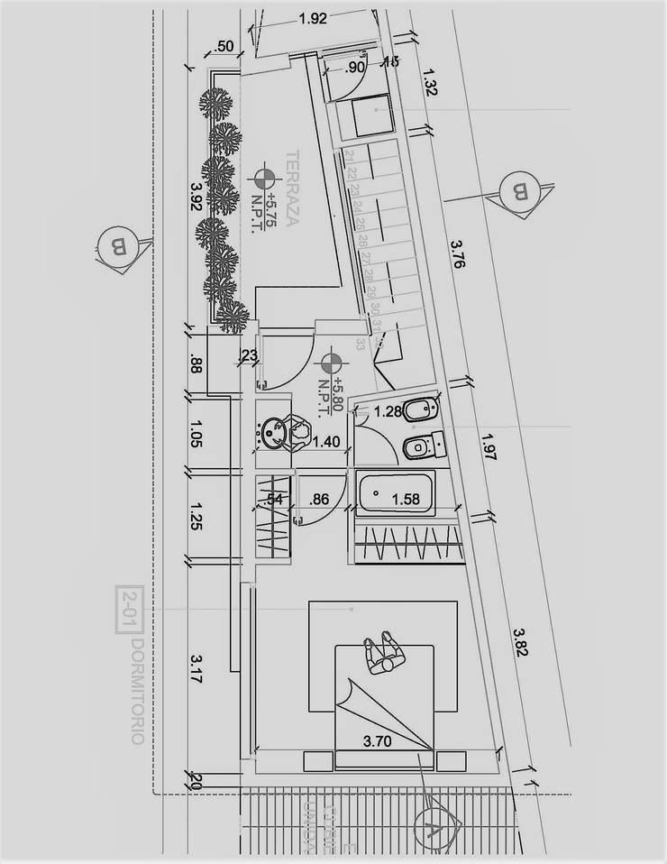 PLANTA PROYECTO CASA O¨HIGGINS Terreno triangular: Casas unifamiliares de estilo  por S+T ESTUDIO INTEGRAL