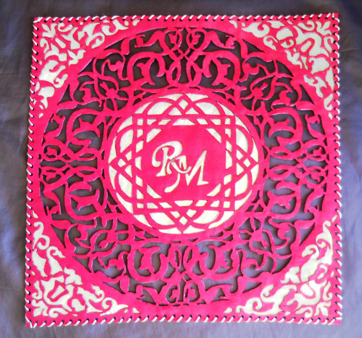 Placemats with owner's monogram:  Dining room by Alexandrova living DECOR