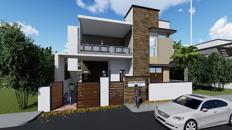 Exterior 3D Elevation:  Multi-Family house by Cfolios Design And Construction Solutions Pvt Ltd,Modern