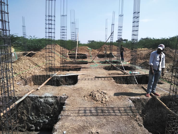 Column Reinforcement:  Multi-Family house by Cfolios Design And Construction Solutions Pvt Ltd,Modern