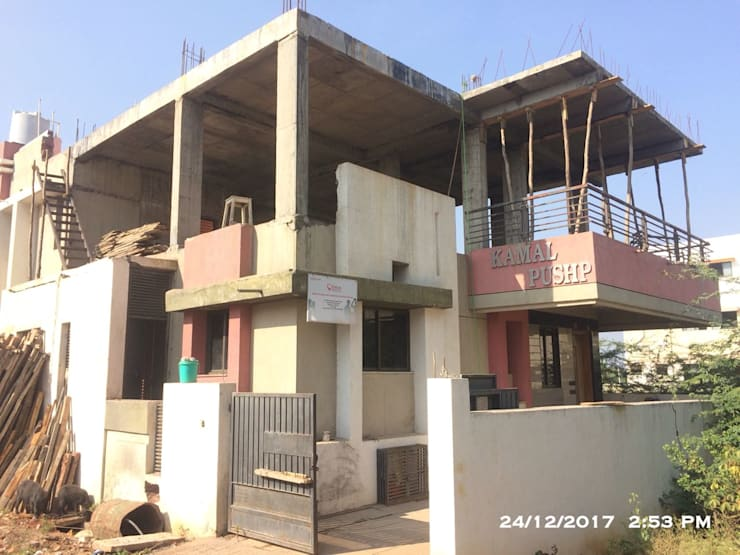 Slab View after deshuttering:  Single family home by Cfolios Design And Construction Solutions Pvt Ltd,Modern Reinforced concrete