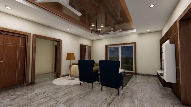 Madhav Kadam, Vijayapura: modern Living room by Cfolios Design And Construction Solutions Pvt Ltd