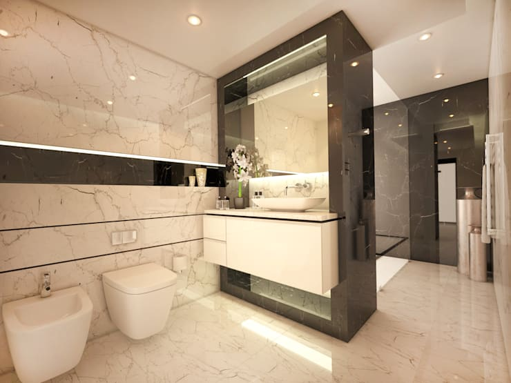 Main Bathroom:  Bathroom by Dessiner Interior Architectural