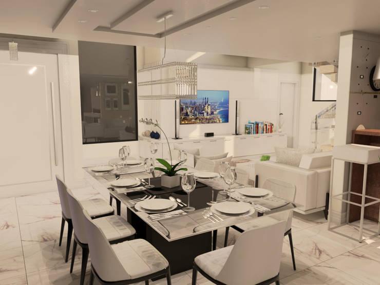 Mesa de vidro com pé em laca preta: Salas de jantar  por Janete Krueger Arquitetura e Design