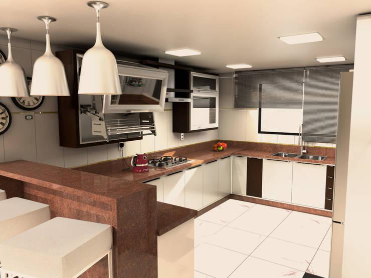 Cozinha branca com granito  marrom absoluto: Cozinhas  por Janete Krueger Arquitetura e Design