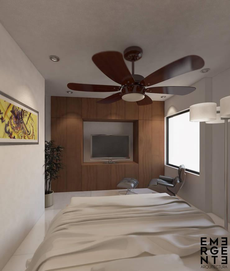 RECAMARA PRINCIPAL: Recámaras de estilo  por EMERGENTE   Arquitectura