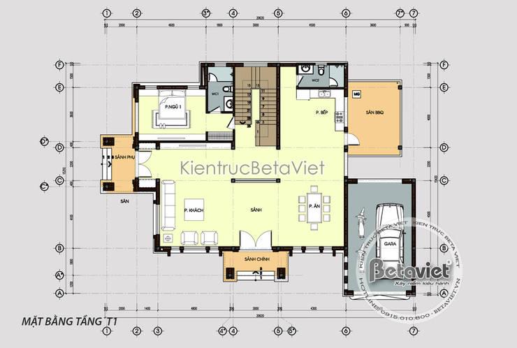 Mặt bằng tầng 1 mẫu biệt thự 2 tầng Hiện đại KT17049:   by Công Ty CP Kiến Trúc và Xây Dựng Betaviet