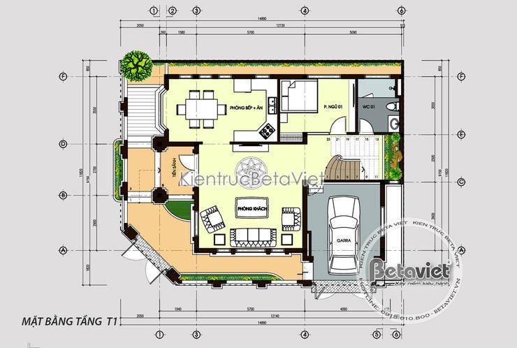 Mặt bằng tầng 1 mẫu biệt thự Tân cổ điển 3 tầng KT17078:   by Công Ty CP Kiến Trúc và Xây Dựng Betaviet