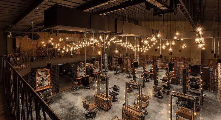 新東方風格混合復古風的髮廊:  商業空間 by 漢玥室內設計