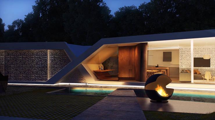 Ingreso: Casas de estilo moderno por síncresis arquitectos