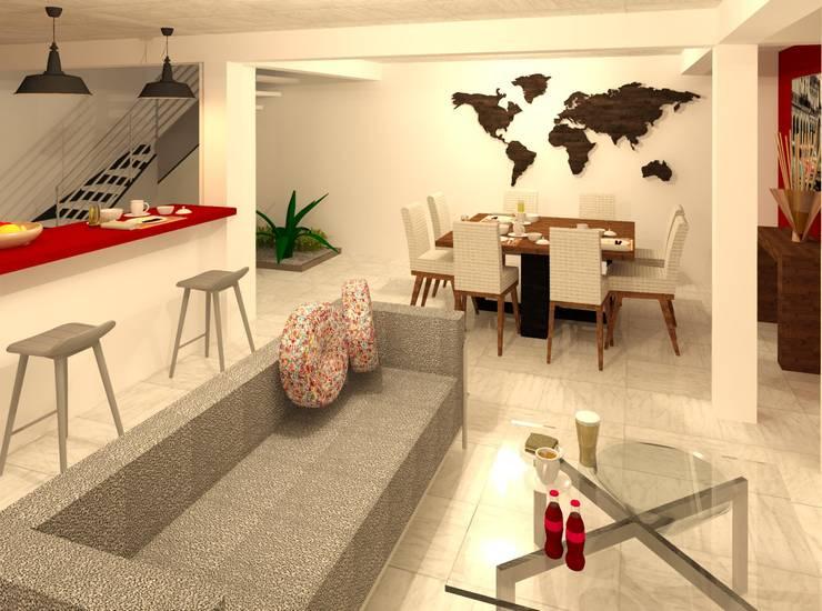 Sala - Comedor: Comedores de estilo moderno por Perfil Arquitectónico